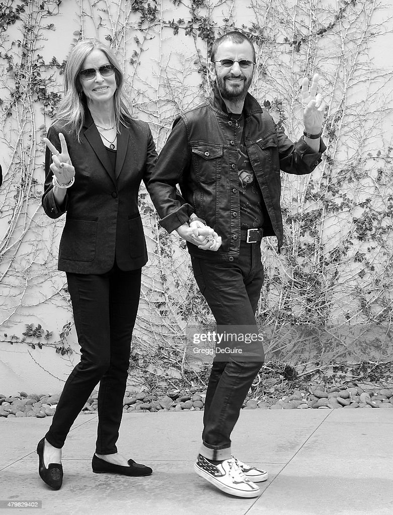 Musician Ringo Starr and Barbara Bach attend Ringo's birthday fan gathering at Capitol Records on July 7, 2015 in Hollywood, California.