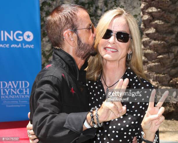 Musician Ringo Starr and Barbara Bach attend the Ringo Starr 'Peace Love' birthday celebration at Capitol Records Tower on July 7 2017 in Los Angeles...