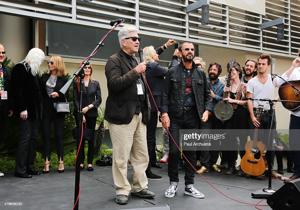 Musician Ringo Starr (R) and Director David Lynch (L) attend Ringo Starr's birthday fan gathering on July 7, 2015 in Hollywood, California.