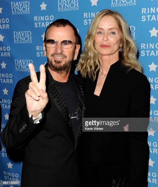 Musician Ringo Starr and his wife actress Barbara Bach arrive at the David Lynch Foundation's benefit honoring Ringo Starr with the 'Lifetime of...