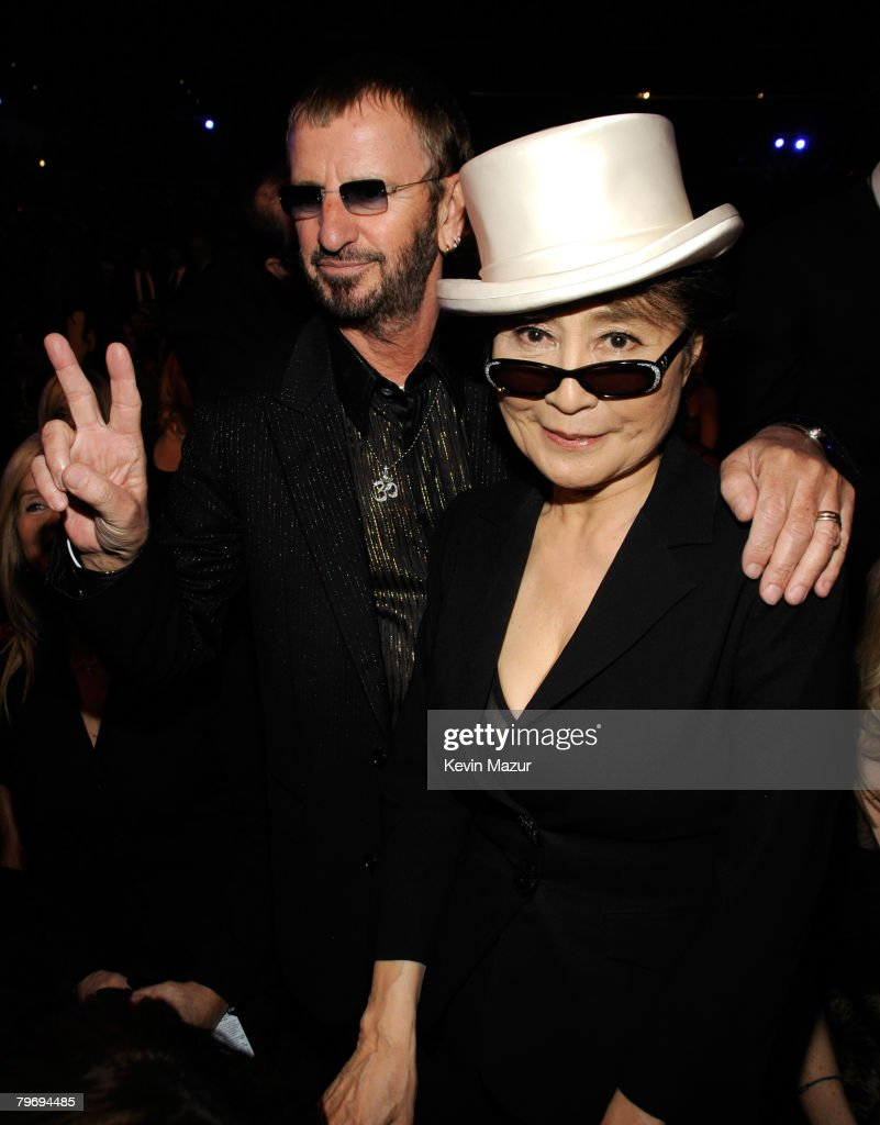 Musician Ringo Starr and Yoko Ono at the 50th Annual GRAMMY Awards at the Staples Center on February 10, 2008 in Los Angeles, California. **EXCLUSIVE**
