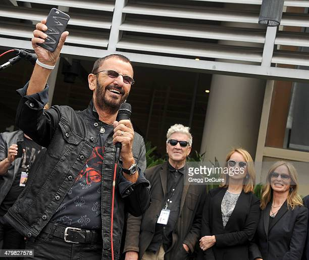 Musician Ringo Starr David Lynch Marjorie Bach and Barbara Bach attend Ringo's birthday fan gathering at Capitol Records on July 7 2015 in Hollywood...