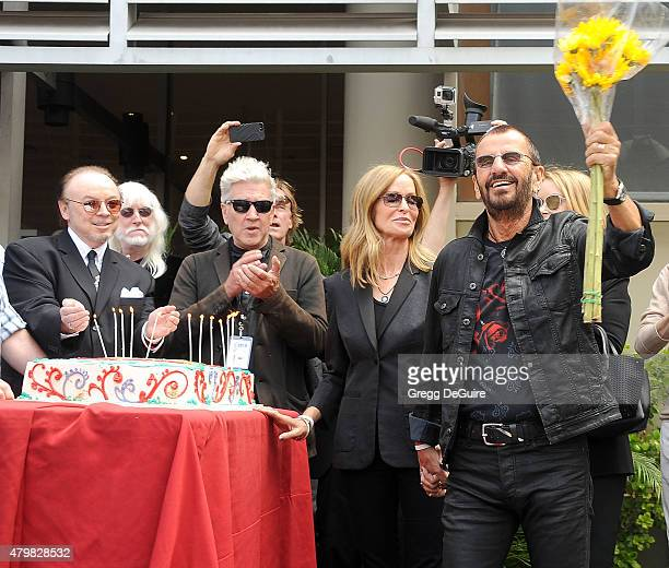 Musician Ringo Starr director David Lynch and actress Barbara Bach attend Ringo's birthday fan gathering at Capitol Records on July 7 2015 in...