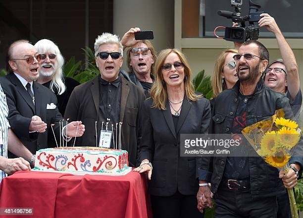 Musician Ringo Starr director David Lynch and actress Barbara Bach attend Ringo Starr's birthday fan gathering at Capitol Records on July 7 2015 in...