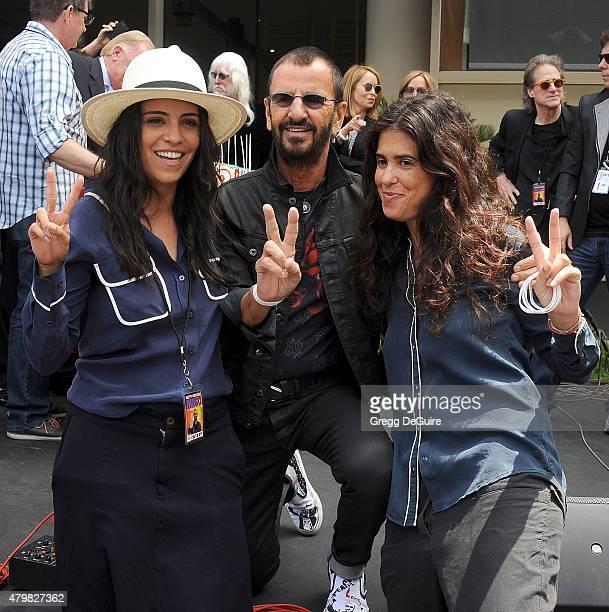 Musician Ringo Starr director Francesca Gregorini and Olga Segura attend Ringo's birthday fan gathering at Capitol Records on July 7 2015 in...