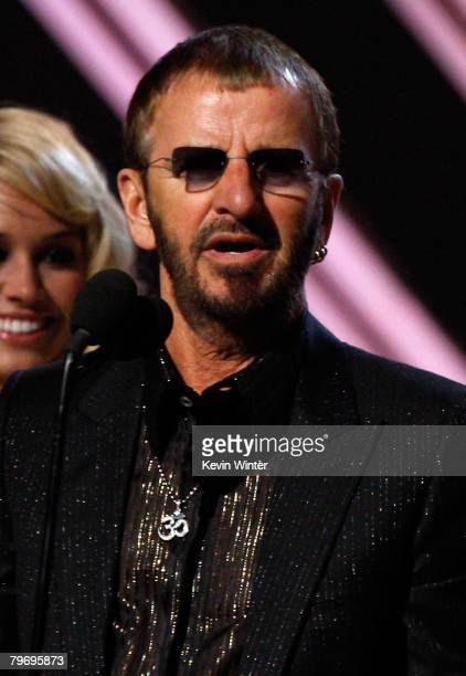 Musician Ringo Starr of the Beatles onstage during the 50th annual Grammy awards held at the Staples Center on February 10 2008 in Los Angeles...