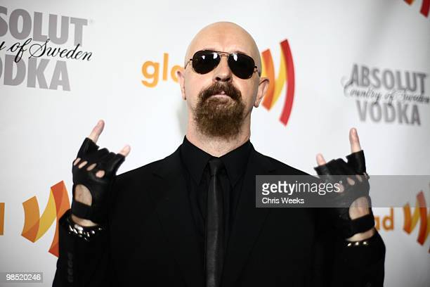 Musician Rob Halford poses during the cocktail reception for the 21st Annual GLAAD Media Awards held at Hyatt Regency Century Plaza Hotel on April 17...