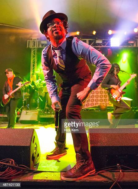 Musician Rob Myers and bassist Ashish Vyas of Thievery Corporation perform in concert at Stubb's BarBQ on April 29 2014 in Austin Texas