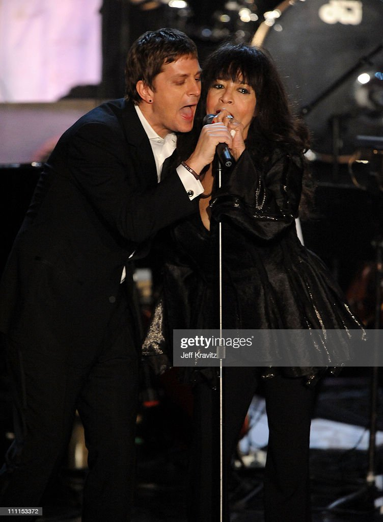 Musician Rob Thomas and singer Ronnie Spector perform onstage at the 25th Annual Rock and Roll Hall of Fame Induction Ceremony at the Waldorf=Astoria on March 15, 2010 in New York City.
