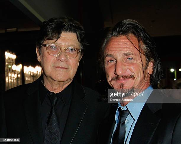 Musician Robbie Robertson and actor Sean Penn attend LACMA 2012 Art Film Gala Honoring Ed Ruscha and Stanley Kubrick presented by Gucci at LACMA on...