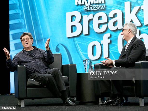 Musician Robbie Robertson speaks onstage with NAMM President and CEO Joe Lamond during the 2017 NAMM Show Opening Day at Anaheim Convention Center on...