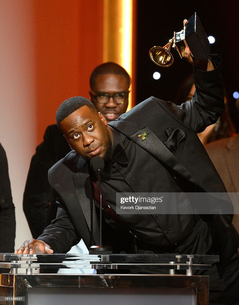 Musician Robert Glasper, winner of Best R&B Album for 'Black Radio' onstage at the The 55th Annual GRAMMY Awards at Nokia Theatre on February 10, 2013 in Los Angeles, California.