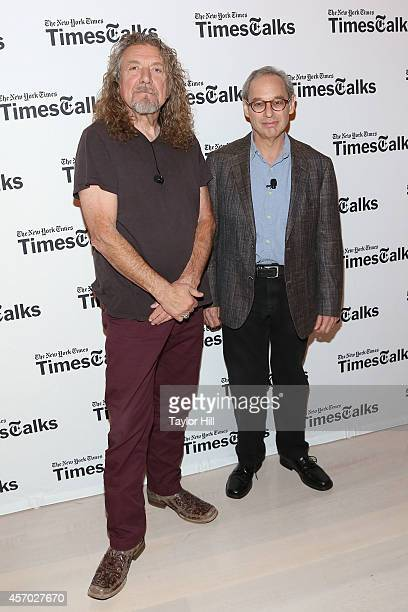 Musician Robert Plant and music critic Jon Pareles attend 'TimesTalks Presents An Evening With Robert Plant' at Times Center on October 10 2014 in...
