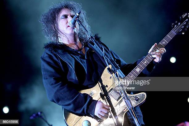 Musician Robert Smith of The Cure performs during day 3 of the Coachella Valley Music Arts Festival 2009 at the Empire Polo Club on April 19 2009 in...