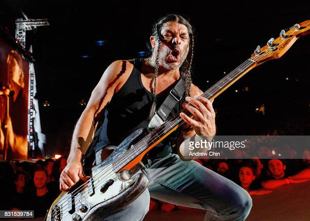 Musician Robert Trujillo of Metallica performs on stage at BC Place on August 14 2017 in Vancouver Canada