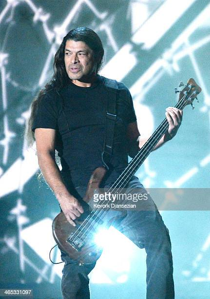 Musician Robert Trujillo of Metallica performs onstage during the 56th GRAMMY Awards at Staples Center on January 26 2014 in Los Angeles California