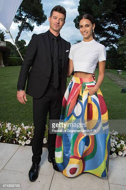 Musician Robin Thicke and April Love Geary attends amfAR's 22nd Cinema Against AIDS Gala Presented By Bold Films And Harry Winston at Hotel du...