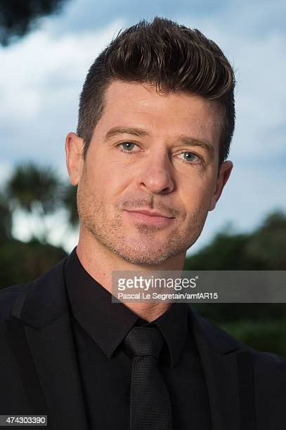 Musician Robin Thicke attends amfAR's 22nd Cinema Against AIDS Gala Presented By Bold Films And Harry Winston at Hotel du CapEdenRoc on May 21 2015...