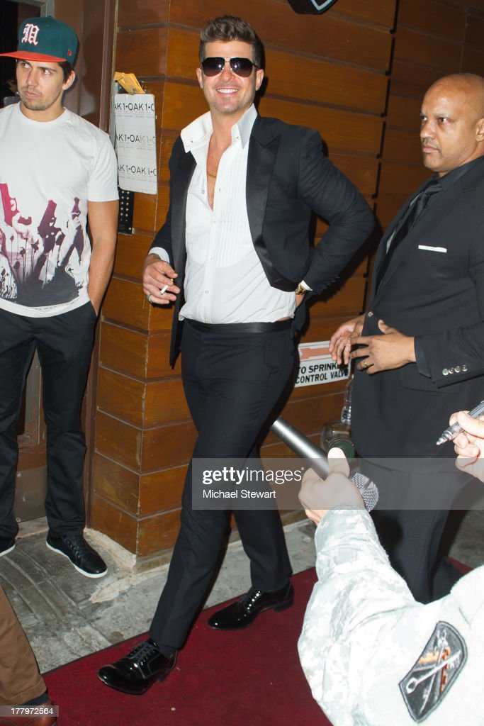 Musician Robin Thicke seen on the streets of Manhattan on August 25, 2013 in New York City.