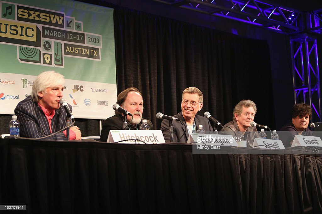 Musician Robyn Hitchcock, author Bill Flanagan, Director of The Grammy Museum Bob Santelli, musician Rodney Crowell and singer-songwriter Ron Sexsmith speak onstage at 50 Years of the Beatles during the 2013 SXSW Music, Film + Interactive Festival at Austin Convention Center on March 14, 2013 in Austin, Texas.