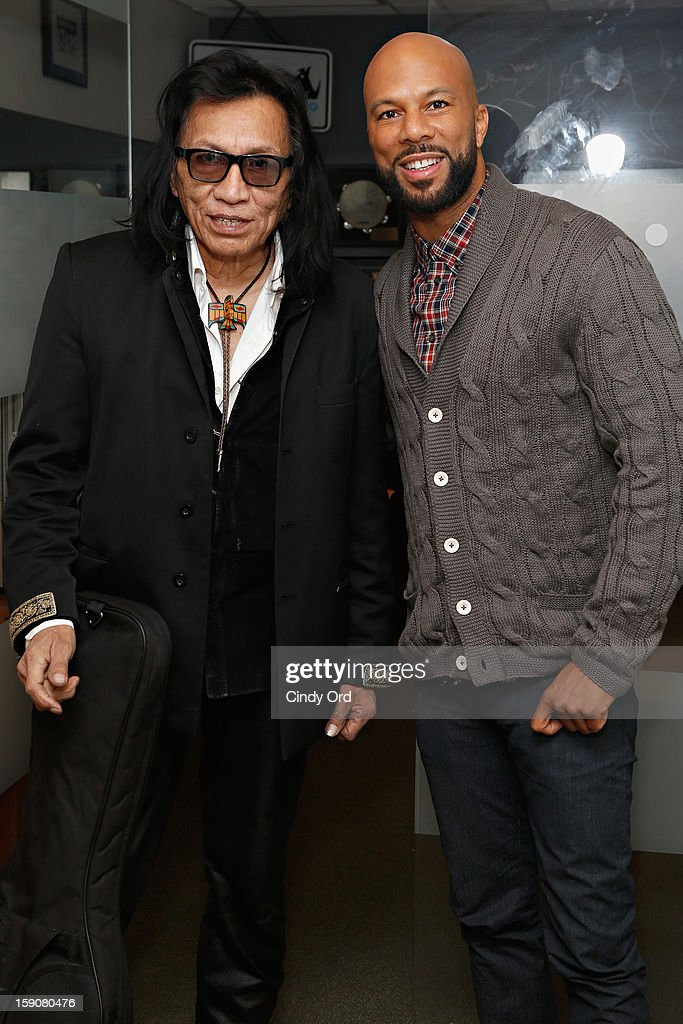 Musician Rodriguez poses with rapper/ actor Common at the SiriusXM Studios on January 7, 2013 in New York City.