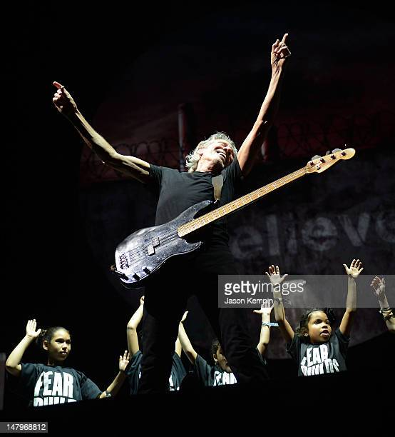 Musician Roger Waters performs at Yankee Stadium on July 6 2012 in New York City
