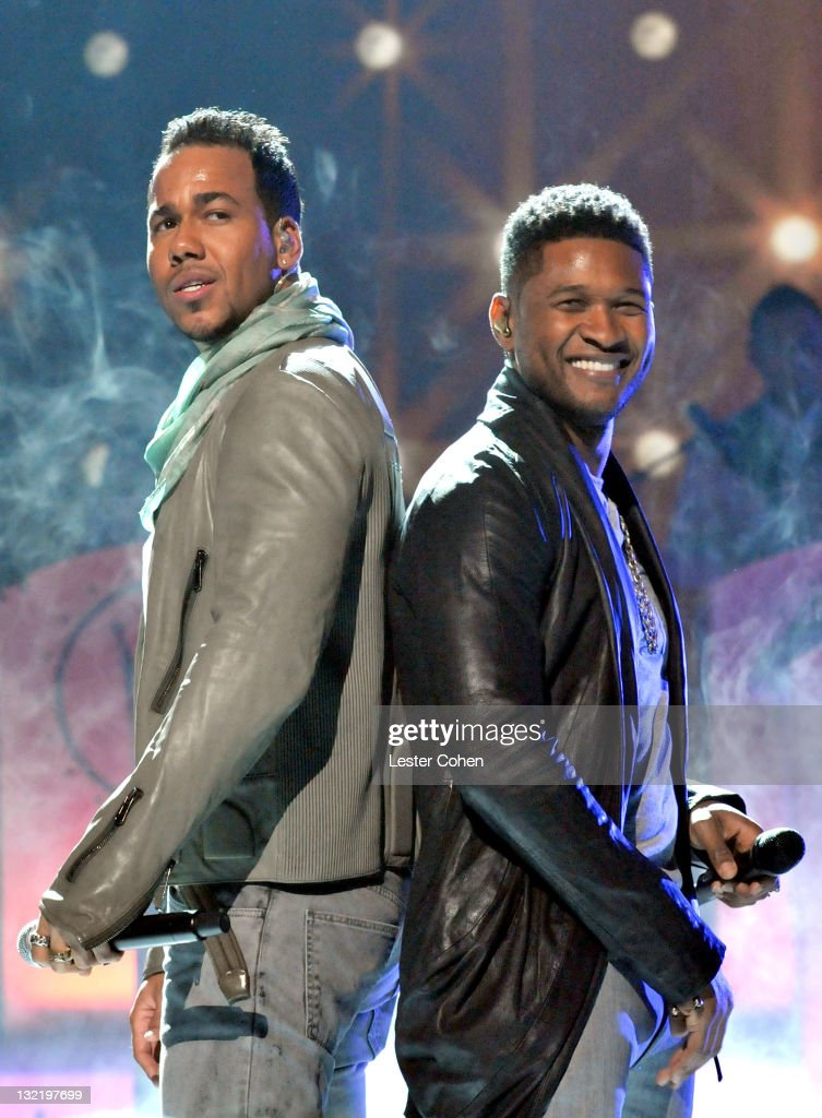 Musician Romeo Santos (L) and Usher (R) onstage at the 12th Annual Latin GRAMMY Awards held at the Mandalay Bay Events Center on November 10, 2011 in Las Vegas, Nevada.