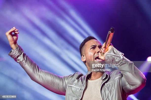 Musician Romeo Santos performs on stage during the opening night of The Formula Vol 2 Tour at Valley View Casino Center on May 21 2014 in San Diego...