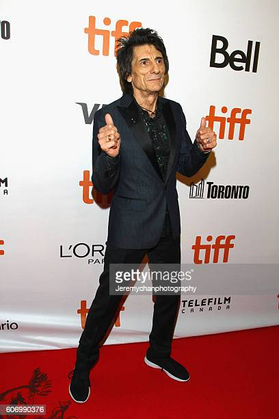 Musician Ronnie Wood attends the 'The Rolling Stones Ole Ole Ole A Trip Across Latin America' premiere held at Roy Thomson Hall during the Toronto...