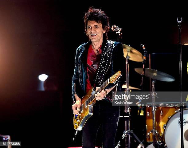 Musician Ronnie Wood of The Rolling Stones of The Rolling Stones performs during Desert Trip at the Empire Polo Field on October 14 2016 in Indio...