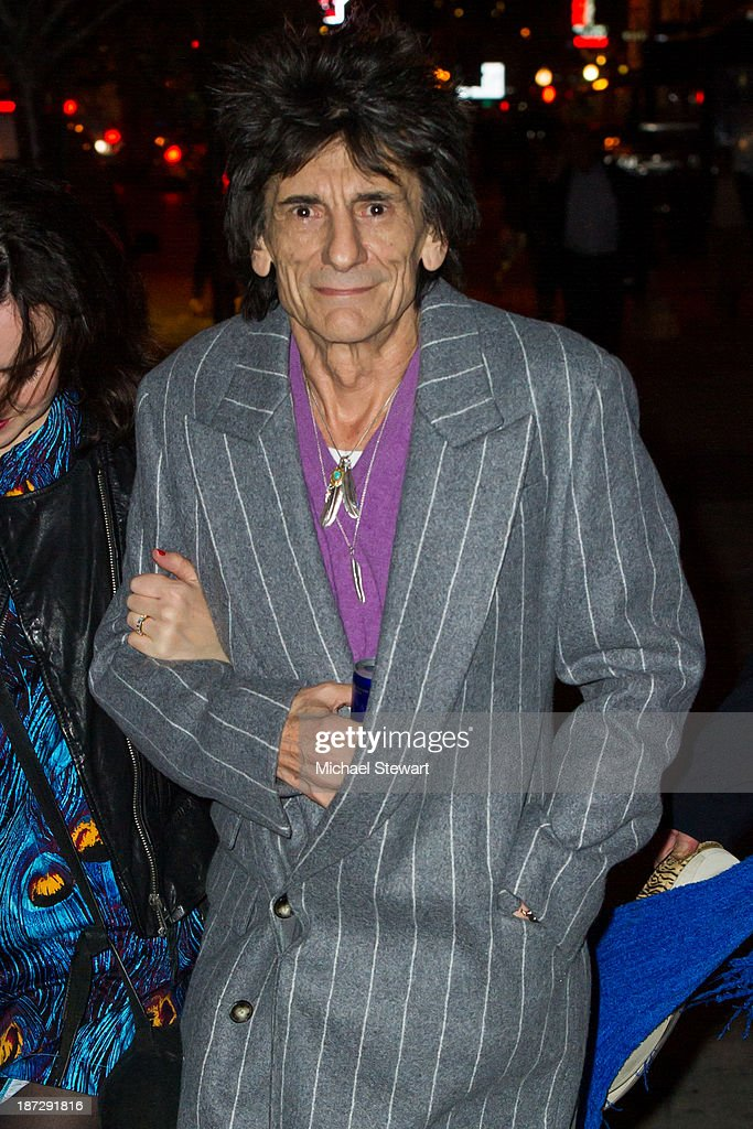 Musician Ronnie Wood of the Rolling Stones seen outside the Gansevoort Hotel on November 7, 2013 in New York City.