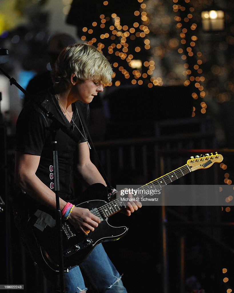 Musician Ross Lynch performs for the group R5 during their appearance at Radio Disney's N.B.T. 'Next BIG Thing' Season 5 Finale Event at The Americana at Brand on December 8, 2012 in Glendale, California.