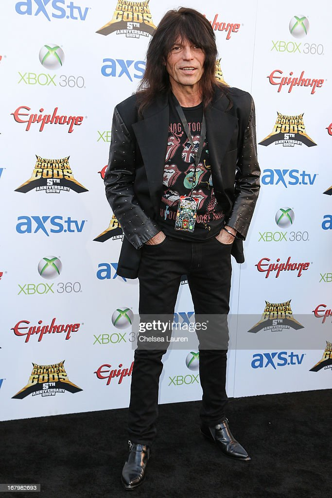Musician Rudy Sarzo arrives at the 5th Annual Revolver Golden Gods awards show at Club Nokia on May 2, 2013 in Los Angeles, California.