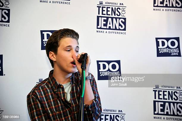 Musician Ryan Beatty performs at the DoSomethingorg and Aeropostale launch of the 6th annual 'Teens For Jeans' hosted by Chloe Moretz at Palihouse on...