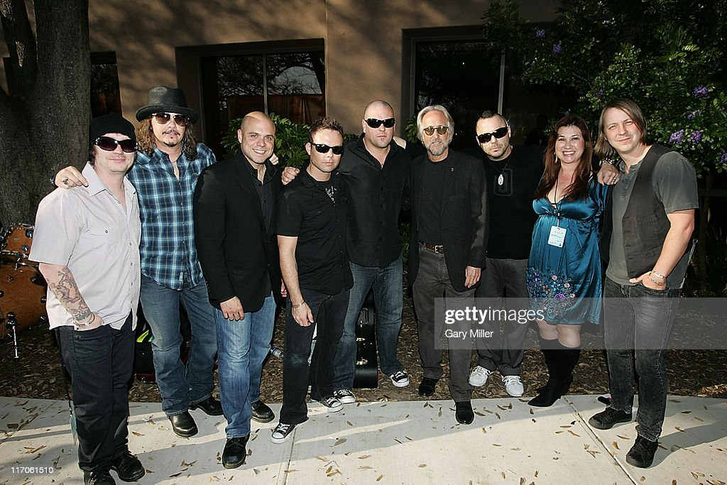 Musician Ryan Delahoussaye, Recording Academy Chair George Flanigen, Chapter President Carlos Sosa, Musicians, Matt Novskey, C.B. Hudson, NARAS President Neil Portnow, Musician/vocalist Justin Furstenfeld, Project Manager Carla Martinez and Jeremy Furstenfeld of Blue October backstage at the Recording Academy's Texas Chapter membership drive on the south lawn of the Four Seasons during the South By Southwest Music Festival on March 18, 2010 in Austin, Texas.