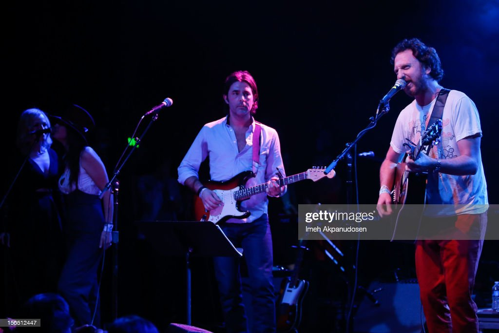 Musician Ryan Miller (R) performs onstage singing 'Wildflowers' with co-founder of The Best Fest Alex Levy at the first ever Jameson Petty Fest West at El Rey Theatre on November 15, 2012 in Los Angeles, California.