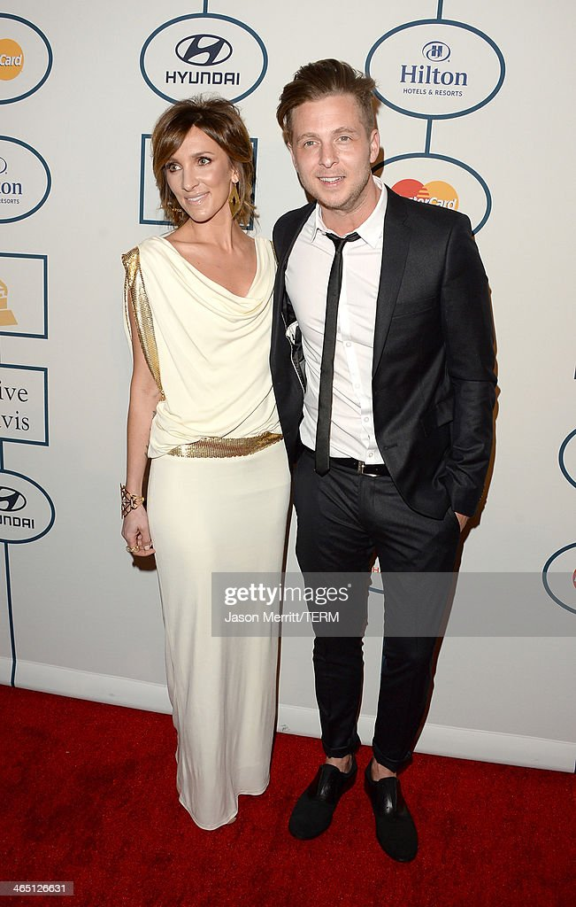 Musician <a gi-track='captionPersonalityLinkClicked' href=/galleries/search?phrase=Ryan+Tedder&family=editorial&specificpeople=4651553 ng-click='$event.stopPropagation()'>Ryan Tedder</a> (R) of OneRepublic and wife Genevieve Tedder attend the 56th annual GRAMMY Awards Pre-GRAMMY Gala and Salute to Industry Icons honoring Lucian Grainge at The Beverly Hilton on January 25, 2014 in Los Angeles, California.