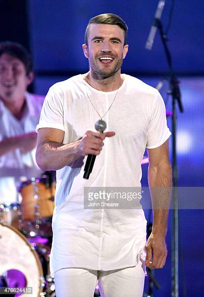 Musician Sam Hunt performs onstage during the 2015 CMT Music awards at the Bridgestone Arena on June 10 2015 in Nashville Tennessee