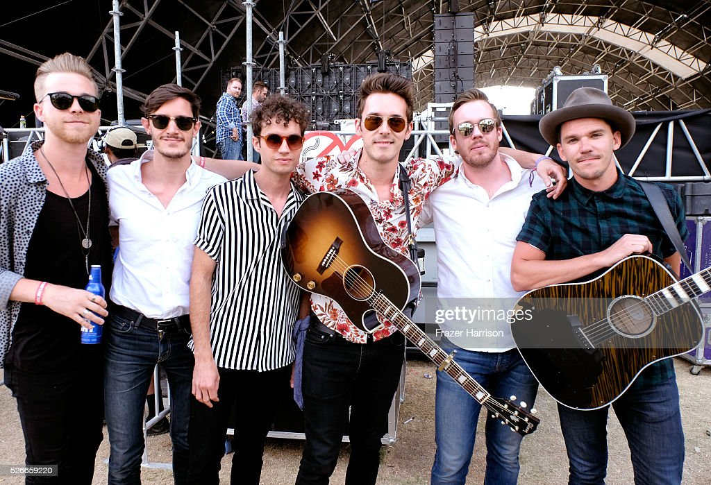 Musician Sam Palladio (C) and band members pose backstage during 2016 Stagecoach California's Country Music Festival at Empire Polo Club on April 30, 2016 in Indio, California.