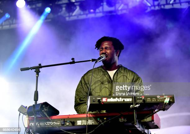 Musician Sampha performs at the Mojave Tent during day 1 of the Coachella Valley Music And Arts Festival at the Empire Polo Club on April 14 2017 in...