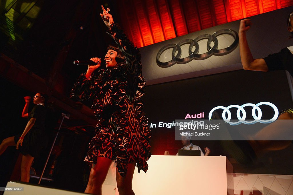 Musician <a gi-track='captionPersonalityLinkClicked' href=/galleries/search?phrase=Santigold&family=editorial&specificpeople=4975985 ng-click='$event.stopPropagation()'>Santigold</a> performs at the Audi Forum New Orleans at the Ogden Museum of Southern Art on February 1, 2013 in New Orleans, Louisiana.