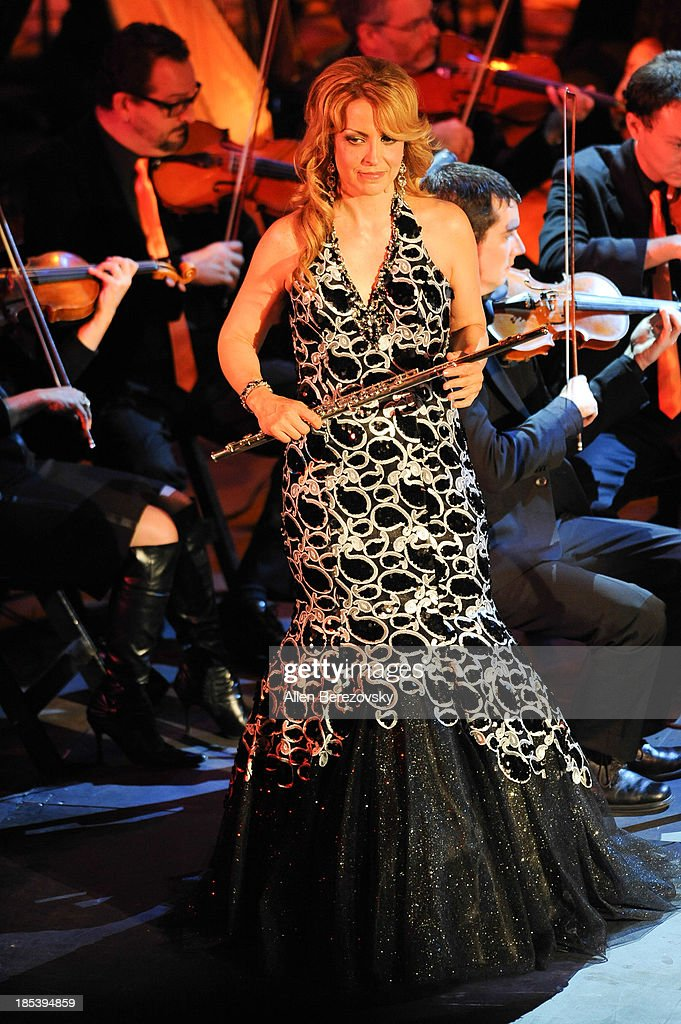 Musician Sara Andon performs on stage during Varese Sarabande Worldwide 35th Anniversary Special Halloween Concert Gala at Warner Grand Theatre on October 19, 2013 in San Pedro, California.