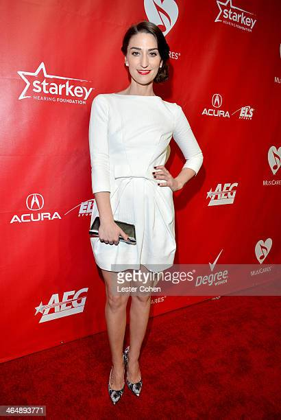 Musician Sara Bareilles attends 2014 MusiCares Person Of The Year Honoring Carole King at Los Angeles Convention Center on January 24 2014 in Los...