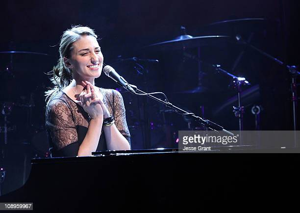 Musician Sara Bareilles performs at the 53rd Annual GRAMMY Awards GRAMMY In The Schools Live show held at USC Grand Ballroom on February 9 2011 in...