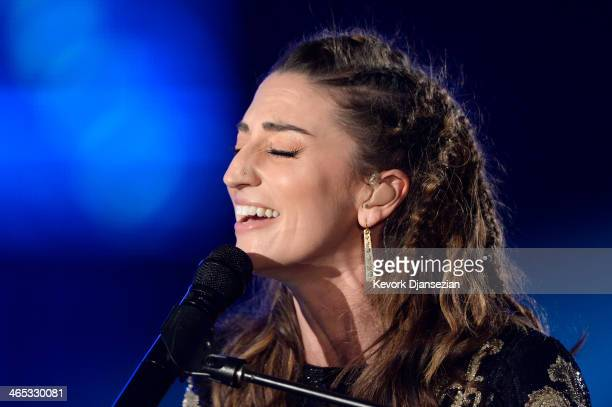 Musician Sara Bareilles performs onstage during the 56th GRAMMY Awards at Staples Center on January 26 2014 in Los Angeles California