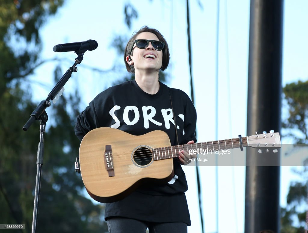 Musician Sara Quin of the band Tegan and Sara performs at the Twin Peaks Stage during day 1 of the 2014 Outside Lands Music and Arts Festival at Golden Gate Park on August 8, 2014 in San Francisco, California.