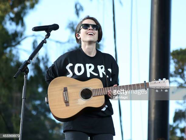 Musician Sara Quin of the band Tegan and Sara performs at the Twin Peaks Stage during day 1 of the 2014 Outside Lands Music and Arts Festival at...