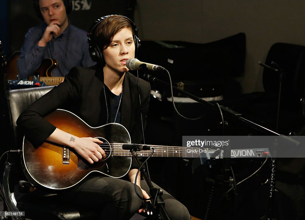 Musician <a gi-track='captionPersonalityLinkClicked' href=/galleries/search?phrase=Sara+Quin&family=editorial&specificpeople=2303840 ng-click='$event.stopPropagation()'>Sara Quin</a> performs with Tegan and Sara on Alt Nation at the SiriusXM Studios on February 19, 2013 in New York City.