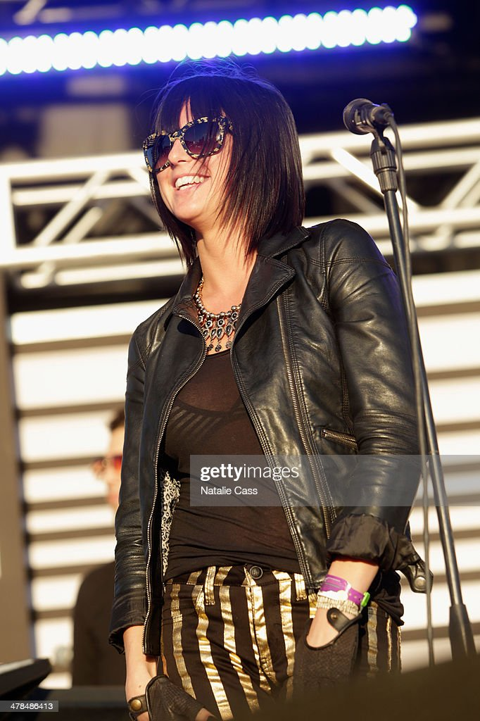 Musician Sarah Barthel of Phantogram performs onstage at the 2014 mtvU Woodie Awards and Festival on March 13 2014 in Austin Texas