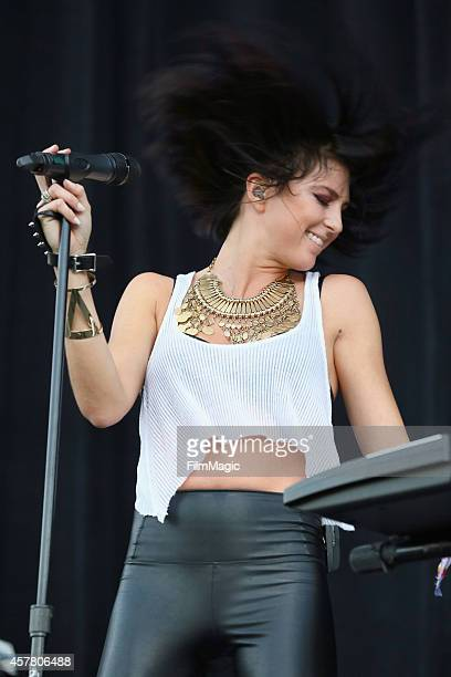 Musician Sarah Barthel of Phantogram performs onstage during day 1 of the 2014 Life is Beautiful festival on October 24 2014 in Las Vegas Nevada